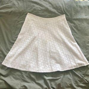 Gap white 100% cotton eyelet mid length skirt